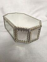 Vintage Venetian Bevelled Style Mirrored Jewellery Box Casket Fleur de Lys Trim