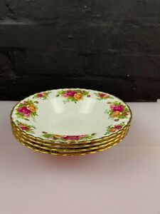 """4 x Royal Albert Old Country Roses Rimmed Soup Bowls 8"""" Wide Set 1st Quality"""
