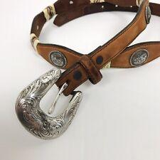 Tony Lama Belt Size 32 Brown Leather Western Cowboy Rodeo Skinny Festival