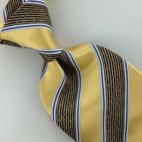 Ermenegildo Zegna Tie Yellow Gold Brown Stripe Necktie Luxury Silk Ties L4-F New