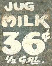 "TIN SIGN ""Jug Milk 35 Cents"" Vintage Dairy   Garage Wall Decor"