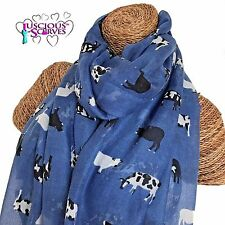 COW SCARF LADIES SCARF WITH COWS FARM ANIMALS SUPERB SOFT QUALITY