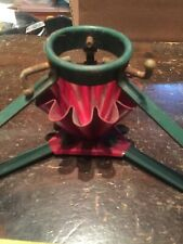 Rare Antique 1940s Red & Green 3 Legged Fluted Metal Christmas Tree Stand