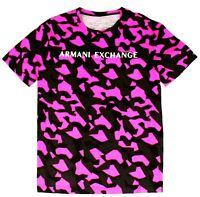 Armani Exchange Mens T-Shirt Black Pink Size XL Camo Logo Crewneck Tee $50 080