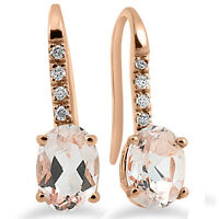 "1 1/5Ct Genuine Morganite & Diamond Drop Earrings 14K Rose Gold 3/4"" Tall"