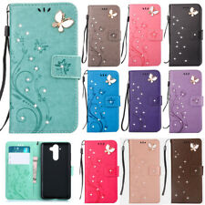 3D Bling Strass Embossed Patterned Flip PU Leather Card S lot Stand Case Cover 2