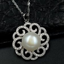 12m White Freshwater Pearl CZ Pendant Necklace Chain 925 Sterling Silver 07484