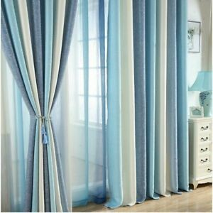 Blue Striped Printed Blackout Curtains for Living Room Modern Window Blinds New