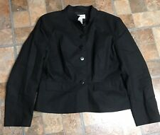 Chadwicks 16 Black Linen Jacket Blazer Lined Euc