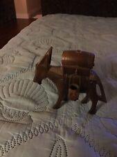 Vintage wooden donkey - Wooden donkey with barrel on back - Vintage