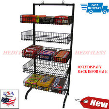 "New Retail 5 Basket Wire Black Candy Rack with Sign Holder Clip 24""w X 18""dx56""h"