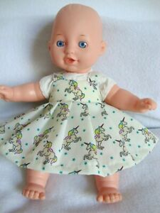 """12"""" baby dolls clothes unicorn print dress made to fit 30cm doll"""