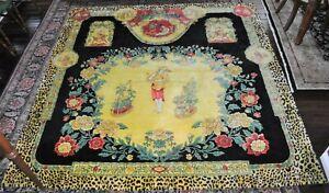 Rare GIANNI VERSACE ATELIER Handknotted Silk Chinese Gardener Wall Hanging Rug