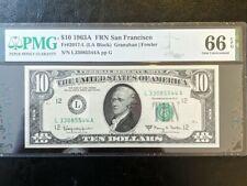 1963A $10 SAN FRANCISCO FRN, PMG GEM UNCIRCULATED 66 EPQ BANKNOTE, Fancy S/N
