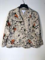 Susan Graver Women's  1X Lightweight Button Front Jacket EC
