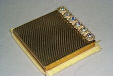 Vintage Signed Volupte Gold Tone Compact with Rhinestones