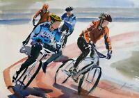 "ORIGINAL watercolour painting bike bycyle 13"" x 9"" Marilyn Allis"