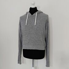 Hollister Women's Cropped Lightweight Grey Cosy Hoodie UK Large ( Size 14-16 )