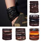 6PCS/Set Men Weave Leather Bracelet Braided Wristband Punk Bangle Jewelry Gifts