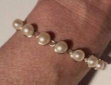 "Pearl Tennis Bracelet 14k Yellow Gold Designer Signed 7"" Ornate Clasp"