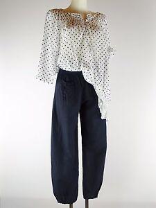 Leinenhose 36 - 44  Designer Neu  blau Gummizug Taschen Lagenlook 100% Lino w