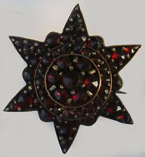LOVELY ANTIQUE VICTORIAN BRASS GARNET DIMENSIONAL STAR PIN BROOCH *