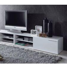 Habitdesign - mueble comedor televisor bajo una puerta y un estante color blan