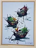 KEE FUNG NG (b. 1941) California MID-CENTURY MODERN Oil/Acrylic Canvas VINTAGE