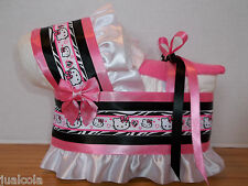 KITTY GIRL DIAPER BASSINET BABY SHOWER TABLE DECORATION PINK BLACK ZEBRA