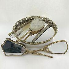 Antique Vanity Set Vintage Tray Mirror Brush Comb 6 Pieces Dresser Gold Filigree
