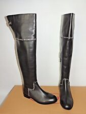 Schuh Yorba Black Studded Leather Over The Knee Zip up Boots. UK 5 (eu38)