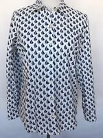 Vineyard Vines Womens Button Up Shirt Size 4 Nautical Blue White Long Sleeve