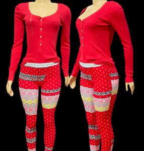 Victorias Secret Pajama Set Long Sleeve Henley Top Red Fireside Thermal Pants