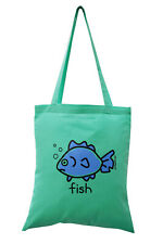 New TOTE BAG: 'FISH!' Aqua Blue, 100% cotton