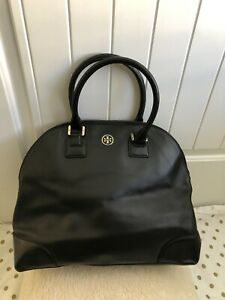 Tory Burch Robinson Dome Satchel Safiano Leather Shoulder Bag /black. READ