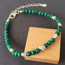 Yoga Adjustable Bracelet 4mm Natural Malachite Sterling Silver Clasp Link 1269