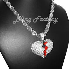 """Iced Silver PT Hip Hop Broken Heart Pendant & 8mm 24"""" Thick Rope Chain Necklace"""
