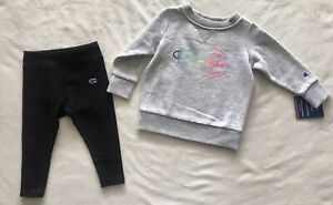 CHAMPION Athleticwear Baby Girl's Fleece Crew & Leggings, 2-Piece Set