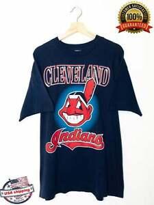 Vintage MLB Cleveland Indians Logo Graphic T Shirt Funny Vintage Gift For Men...