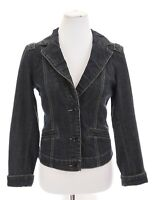 CAbi Jeans Womens Fitted Tailored Denim Jacket Pleated Stretch Blue Sz Small