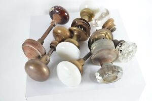 Lot of Antique Glass Porcelain Brass Door Knobs with Spindles