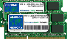 16GB (2x8GB) DDR3 1866MHz PC3-14900 204-pin SODIMM KIT MEMORIA RAM per Laptop