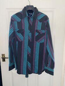 Vintange 1990s Wrangler Bd Striped Shirt Xl Loose Multicolour Western Pearl Snap