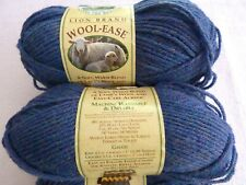 Lion Brand yarn, Wool-Ease 4 ply, 6 skeins acrylic/wool blend,3 oz each,BlueMist