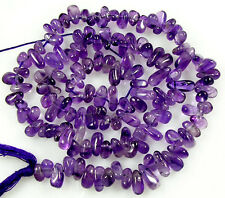 "NATURAL GENSTONE AFRICAN AMETHYST SMOOTH TEARDROP 125 BEADS 14""  Z34"