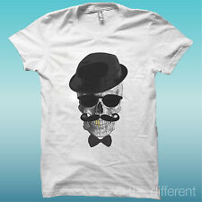 T-SHIRT SKULL CAPPELLO ORO PAPILLON TESCHIO THE HAPPINESS IS HAVE MY T-SHIRT NEW