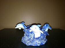 BLUE DOLPHINS BREACHING WAVES CANDLE/VOTIVE/RING/TRINKET/JEWELRY HOLDER