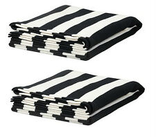 IKEA 2 throw blankets black white striped acrylic bedspreads living room EIVOR