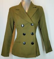 MYSTIC Women's Double Breasted Fitted Blazer Green Small