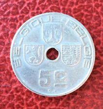 Belgique - Albert Ier - Rare monnaie de 5 Centimes 1938 en  Frappe Médaille